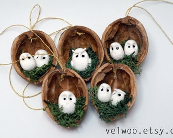 owl ornament set rustic christmas decorations animal ornament walnut ornament nutshell christmas tree ornament christmas ornament