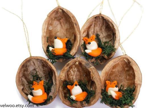 Etsy Christmas Ornaments.Fox Christmas Ornaments Animal Christmas Ornaments Walnut Shell Ornament Nature Gift Woodland Ornament Velwoo