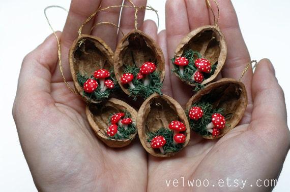 Etsy Christmas Ornaments.Mushroom Christmas Ornaments Walnut Shell Ornament Handmade Ornament Holiday Decor
