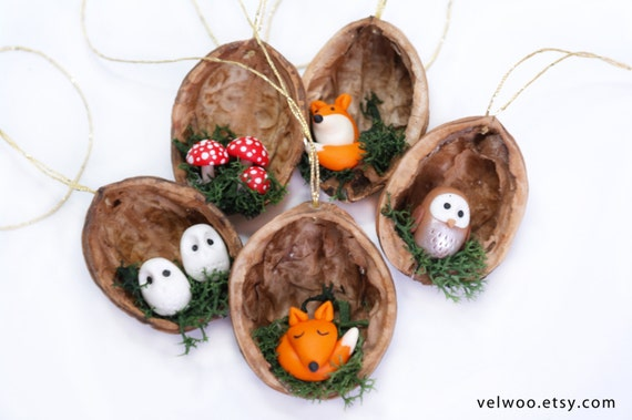 Etsy Christmas Ornaments.Forest Animal Christmas Ornaments Fox Owl And Mushroom Ornament Walnut Shell Ornament Nature Gift Woodland Ornament 25 And Under
