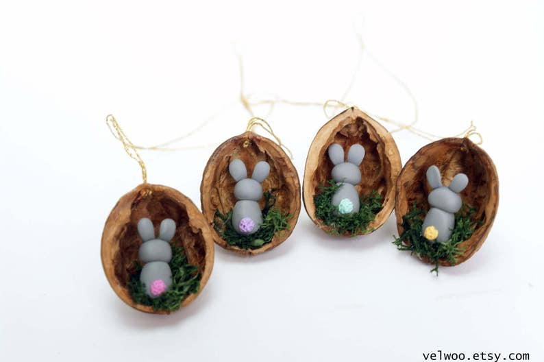 Easter decoration bunny in walnut shell bunny decoration nut shell rabbit decoration animal ornament Mothers Day gift