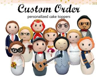 Personalized wedding Cake topper, custom cake topper figurine, Superhero wedding cake topper, geek wedding cake topper
