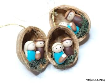 Nativity ornament Christmas Ornaments nativity walnut shell Tree Decorations Package Tie Ons