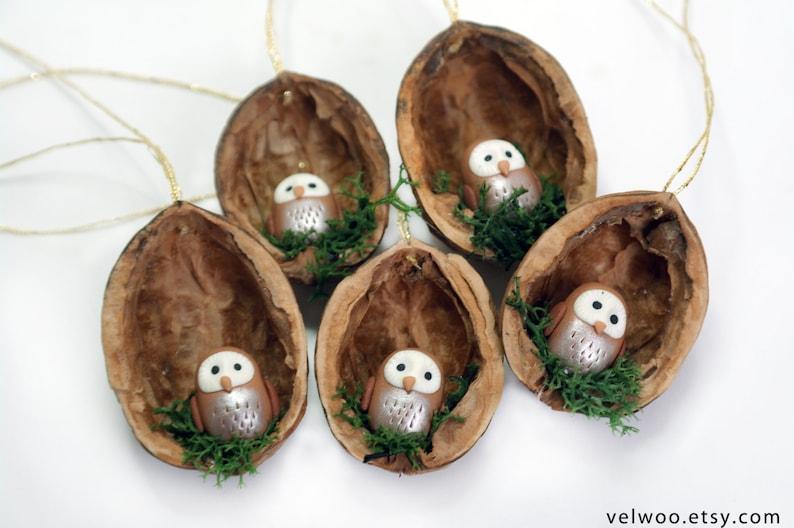 Nutshell Owl Ornament Woodland Christmas Ornament Polymer Clay Owl
