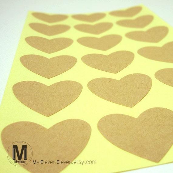 blank plain heart brown kraft labesl etsy