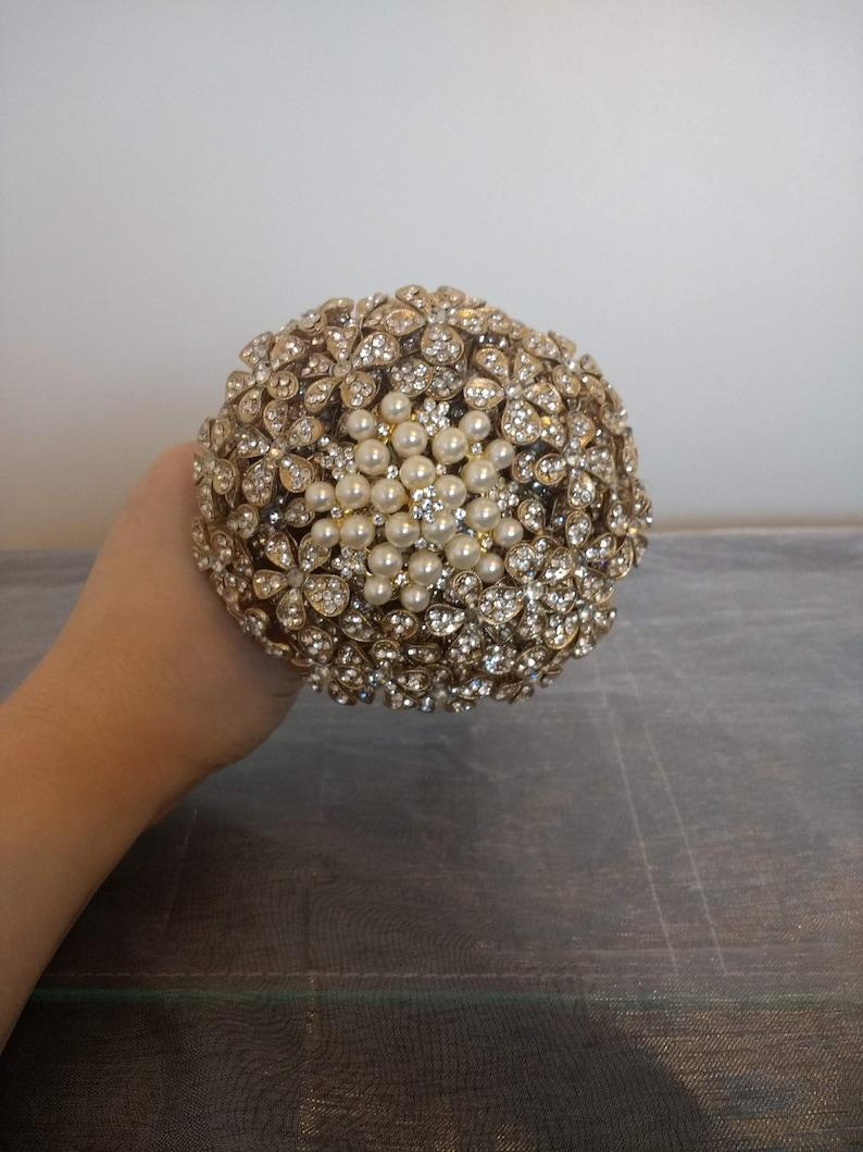 Gold Flower girl Bouquet.....New Design...Stunning Mini Gold Button Bouquet