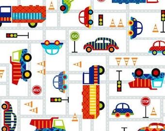 Studio E /'Off We Go/' Kids Car//Balloon//Truck//Signs//Traffic 100/% Cotton Fabric FQ