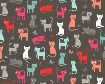 COTTON FABRIC Cats Scatter Grey - Fat Quarters Only - Makower 100% premium cotton