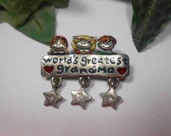 Worlds greatest Grandma pin brooch by AJMC
