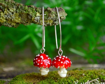 Red Amanita Mushroom Earrings silver hooks Magic Red Mushrooms Fall Autumn botanical forest jewelry Gift For