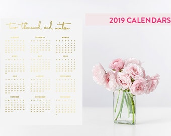 2019 At A Glance Wall Calendar in Gold Foil - Portrait Mode