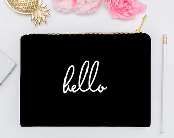 Hello  - Makeup Cosmetic Bag, Makeup Brush Holder, Travel, Cosmetic Bag, Organizer, Bridesmaids Gift, Makeup, Toiletry Bag, Bridal Party