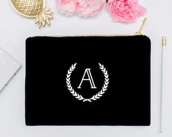 White Initial on Black or White Makeup Cosmetic Bag - Makeup Brush Holder, Travel, Cosmetic Bag, Organizer, Bridesmaid Gift, Custom Bag