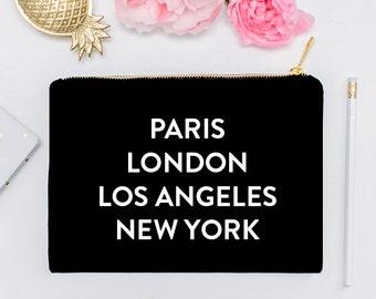 Paris London Los Angeles New York  - Makeup Cosmetic Bag, Makeup Brush Holder, Travel, Cosmetic Bag, Organizer, Bridesmaid Gift, Makeup