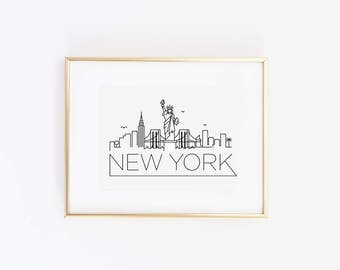 New York City Skyline Print in Black or Gold Foil