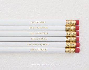 Set of 6 Engraved Pencils - Personalized Pencils, Quote Pencils, White Pencils, Pencil Quotes, Custom Pencils, Grace Not Perfection
