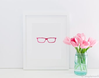 Stylish Pink Foil Eyeglasses Print