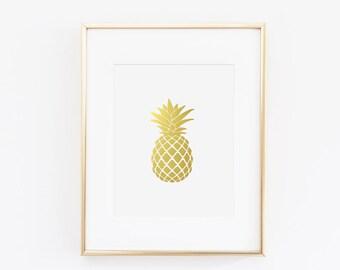 Gold Foil Pineapple Print