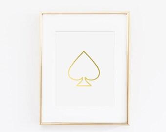 Stylish Gold Foil Spade Art Print