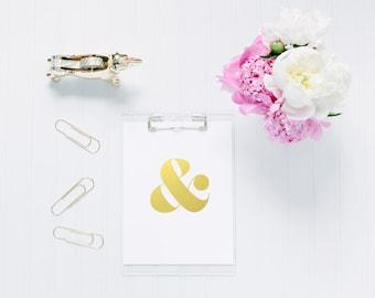 Ampersand Gold Foil Print for Wall Art