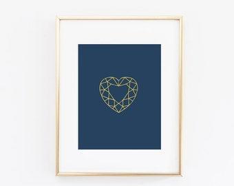 Diamond Heart Gold Foil Print