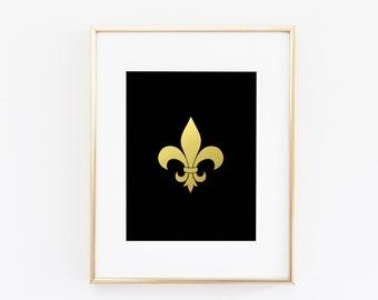 Fashionable Fleur-de-lis Gold Foil Print