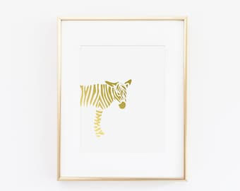 Animal Zebra Gold Foil Art Print