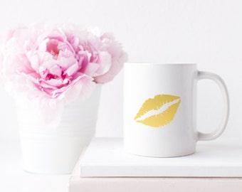 Gold Foil Lips for Coffee or Tea Mug