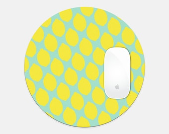 Joyful Lemon Round Mouse Pad for Happy Office Space
