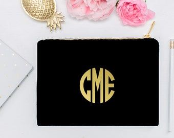 Monogram Personalized Initial Gold Cosmetic Bag