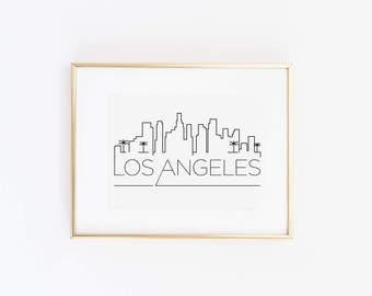 Los Angeles LA Skyline Print in Black or Gold Foil
