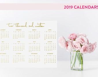 2019 At A Glance Desk Calendar in Gold Foil -  Landscape