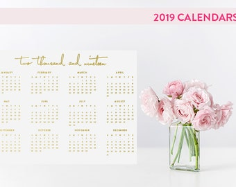 2019 Simple Wall Calendar in Gold Foil