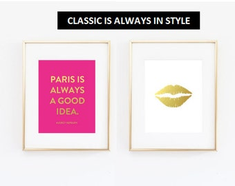 Paris Print Set on Gold Foil for Wall Art