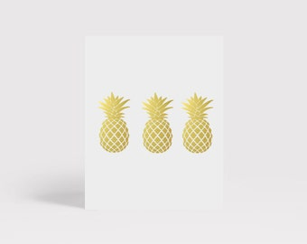 Trendy Pineapple Gold Art Print