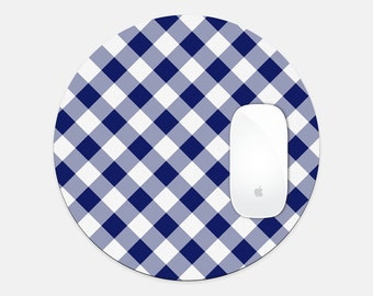 Trendy Buffalo Check Plaid Round Mouse Pad