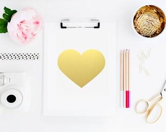 Love is Gold Foil Heart Print
