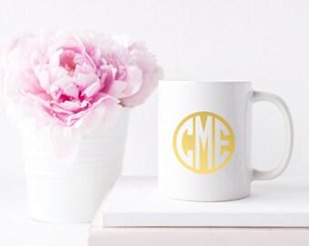 Monogram Gold Foil Ceramic Mug for Coffee or Tea