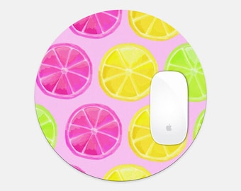 Colorful and Happy Citrus Round Mouse Pad Happy Desk