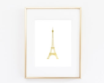 Fashionable Eiffel Tower in Gold Foil Print