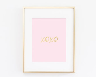 Stylish Blush Pink Gold Foil Art Print
