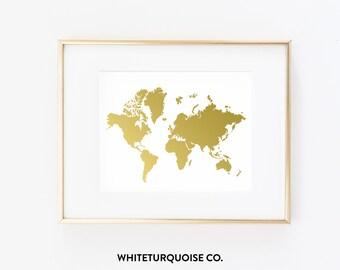 Stunning Wanderlust World Map Print in Gold Foil