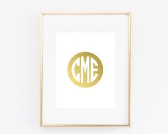 Monogram Gold Foil Print