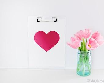 Love is Pink Foil Heart Print