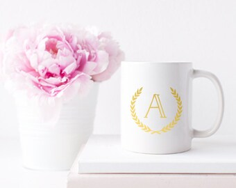 Initial Gold Foil Ceramic Mug for Coffee or Tea