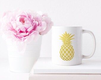 Pineapple Gold Foil Coffee Tea Mug