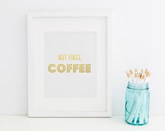 Stylish Coffee Gold Foil Print