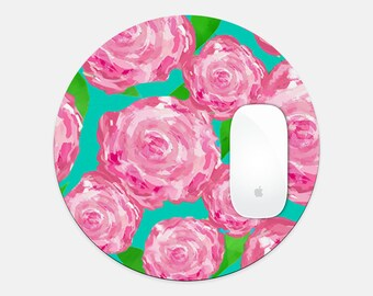 Fun Mouse Pad, Stylish Office Lilly Inspired Round Mouse Pad