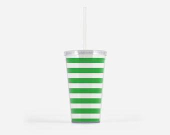 Preppy Green Stripe Tumbler with Straw
