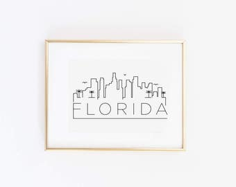 Florida State City Skyline Map in Gold Foil